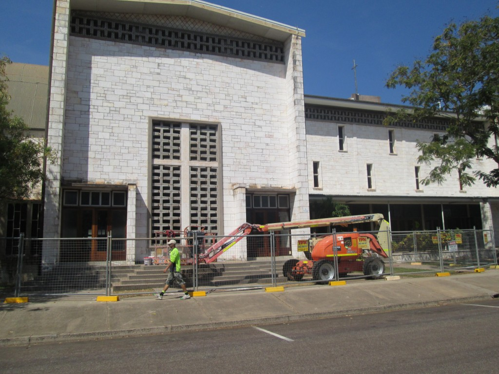 All ceilings inside painting and all painting and repairs to external walls and roof areas, project copleted 2014, St. mary Cathedral, Darwin NT..